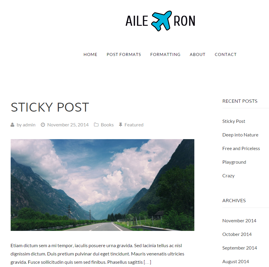 Aileron free wordpress magazine theme