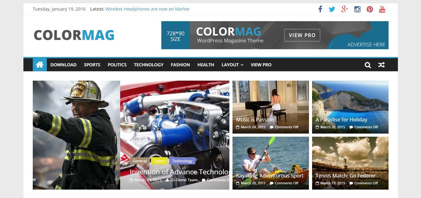 ColorMsg - Clean Free WordPress Theme