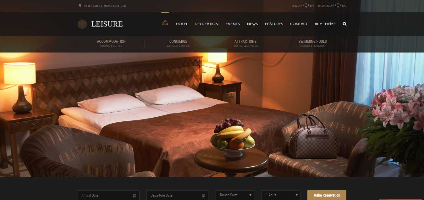 Hotel Leisure - Hotel WordPress Theme 2016