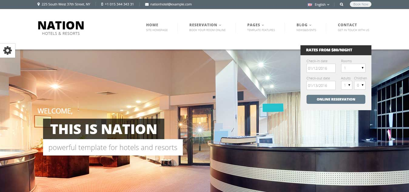 Nation Hotel - Best Hotel WordPress Theme 2016
