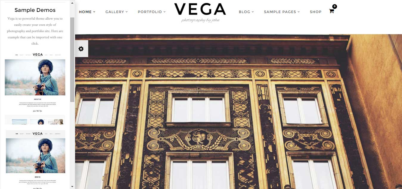 Vega – Photography Portfolio Gallery WordPress Theme