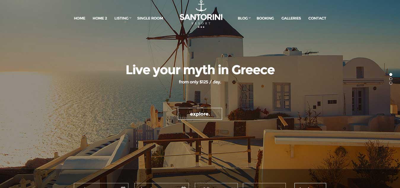 Santorini Resort - Responsive Hotel Template
