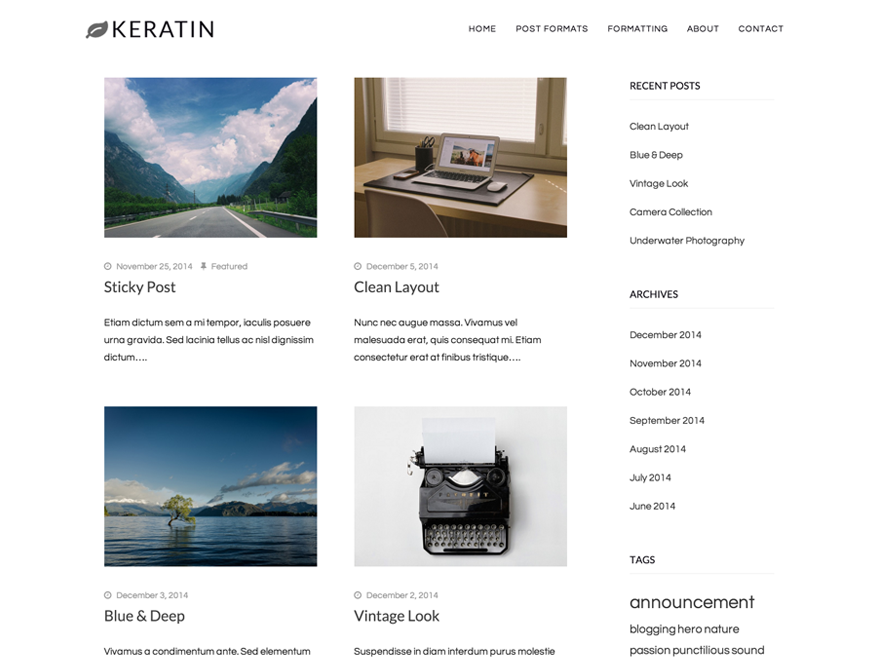 Keratin WordPress Theme