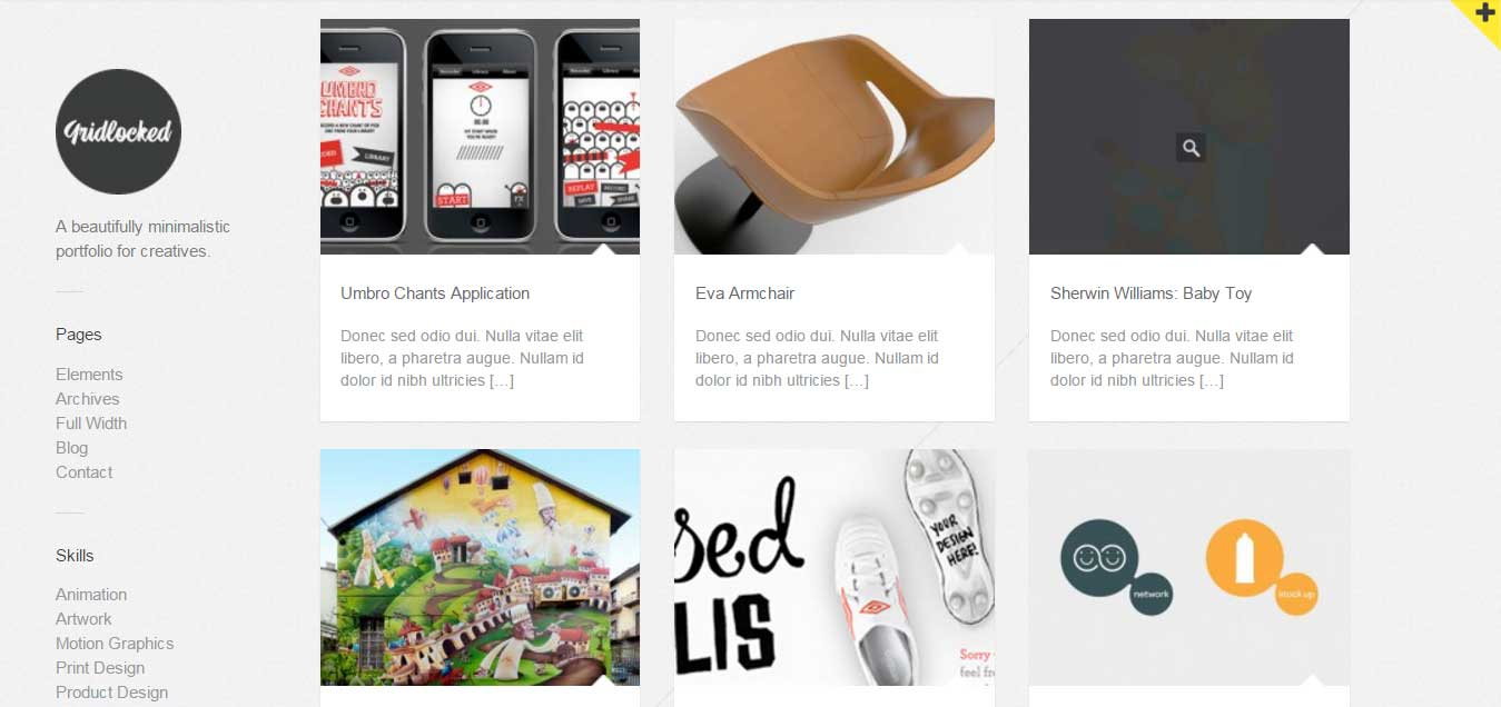 Gridlocked: Minimalistic WordPress Portfolio Theme