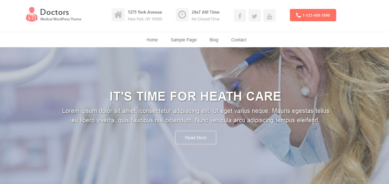 Doctors - free parallax WordPress themes
