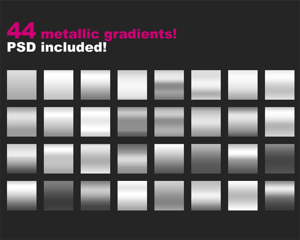 44 Free Metallic Gradients for Photoshop