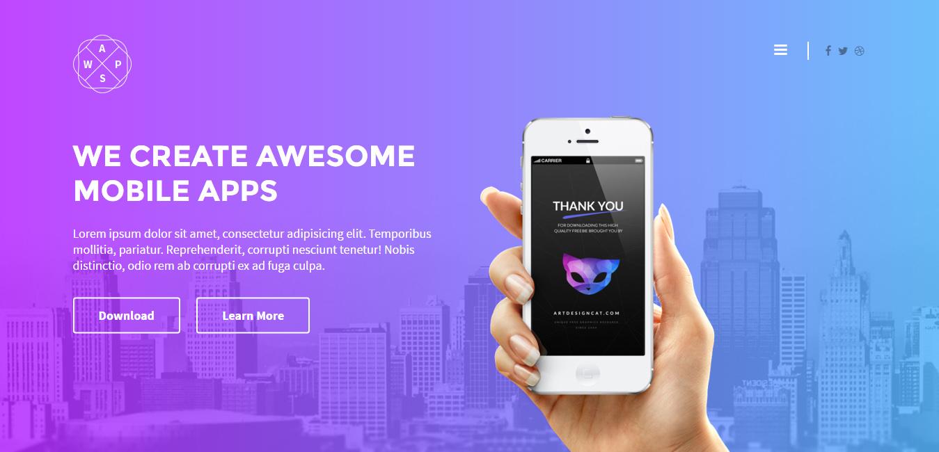 AppsWorld - Responsive App Landing Page Theme