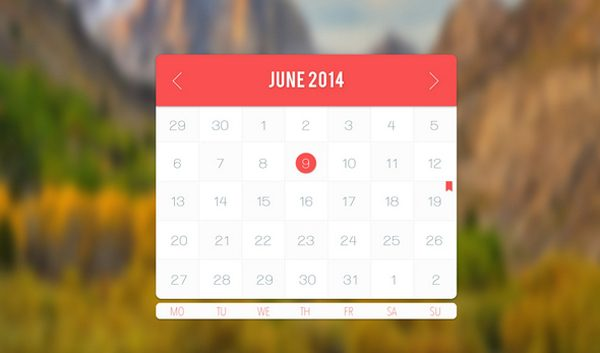 Awesome Light Calendar App Freebie