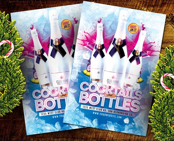 Cocktail Bottles PSD Flyer Template