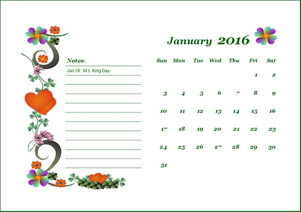 Cool Monthly Calendar 2016