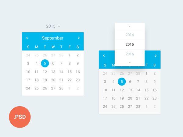 Creative Calendar UI PSD