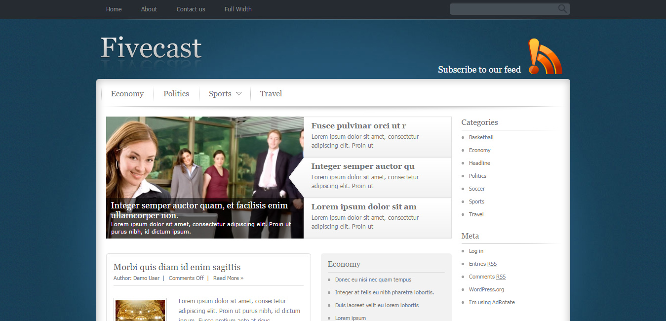 Fivecast - purple WordPress themes