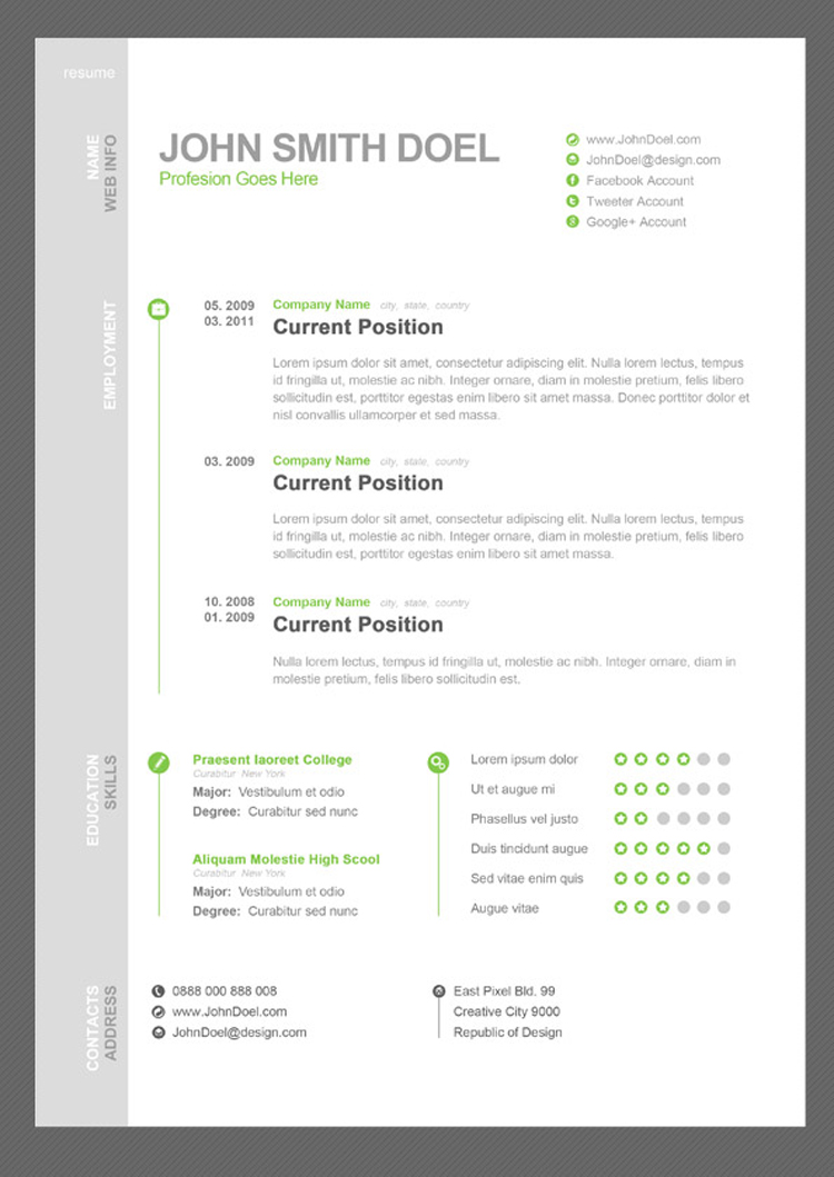 free cv resume psd template - Free Unique Resume Templates