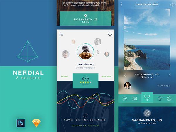 Free Nerdial App UI for Designers