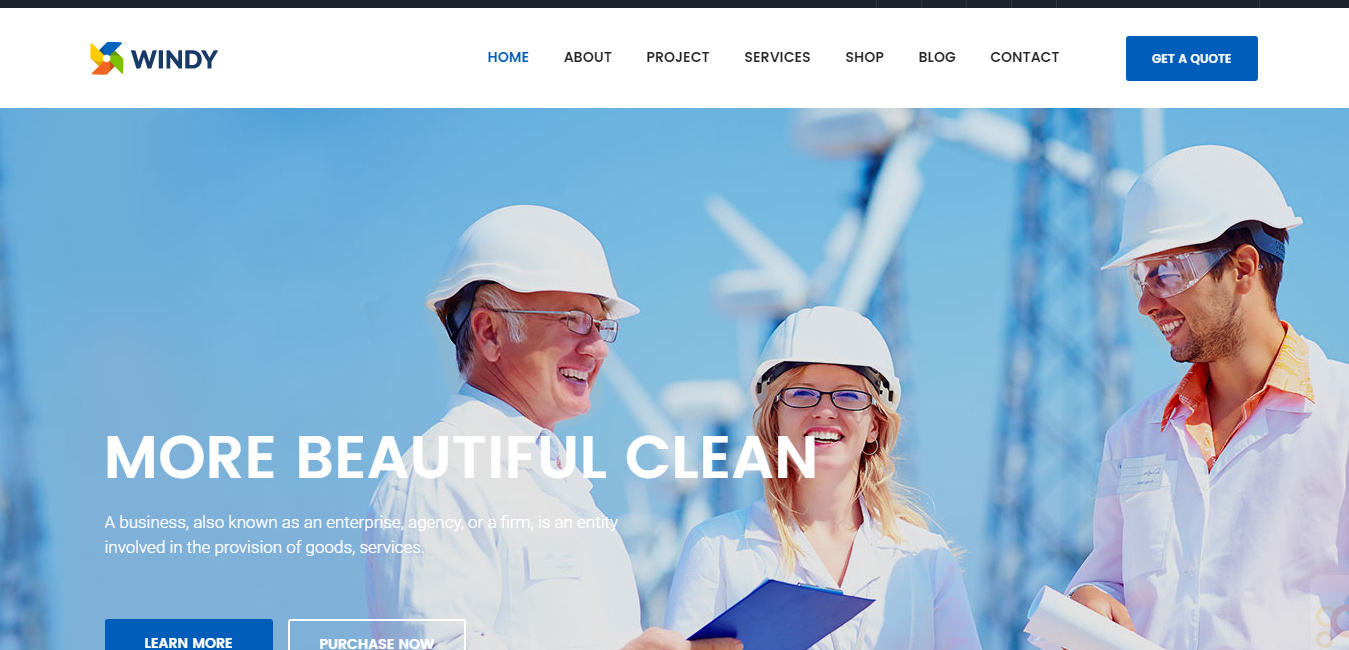 Ri Windy - Wind Environmental Energy WordPress Theme