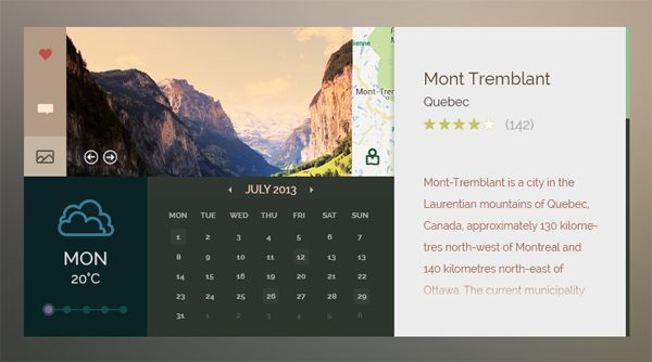 Wonderful Outdoors UI Free PSD