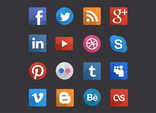 16 Creative Free Flat Inspired Social Icons