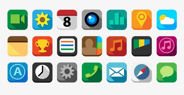 20 Amazing Free Long Shadow Flat Icons