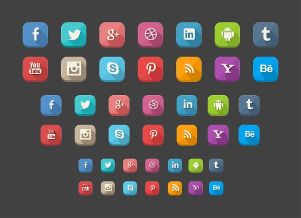 42 Free Long Shadow Social Icons for Designers