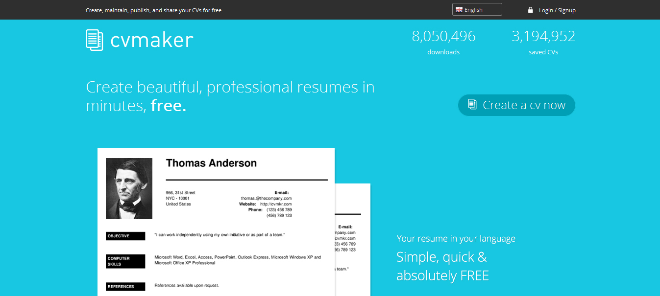 1. CV Maker  Best Resume Sites