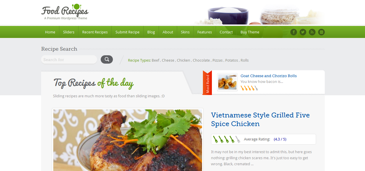 Food Recipes - Cooking WordPress Themes