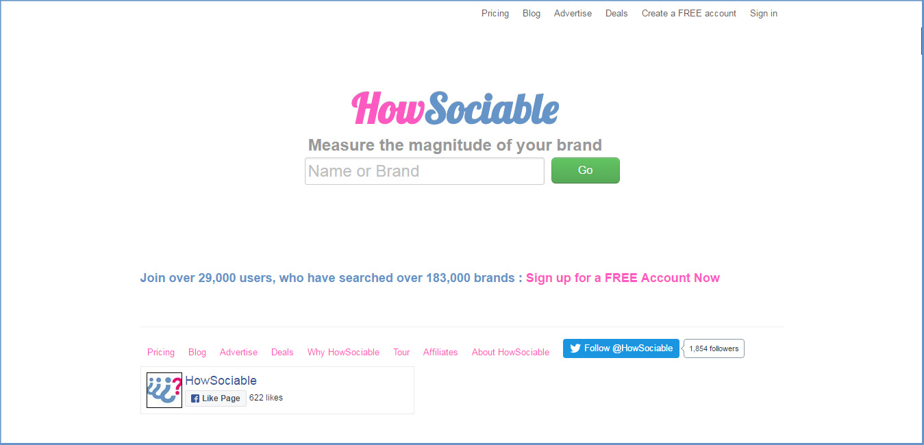 HowSociable - social media monitoring tools