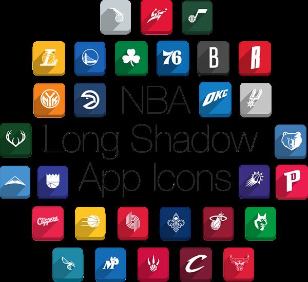 Stunning NBA Long Shadow Icons