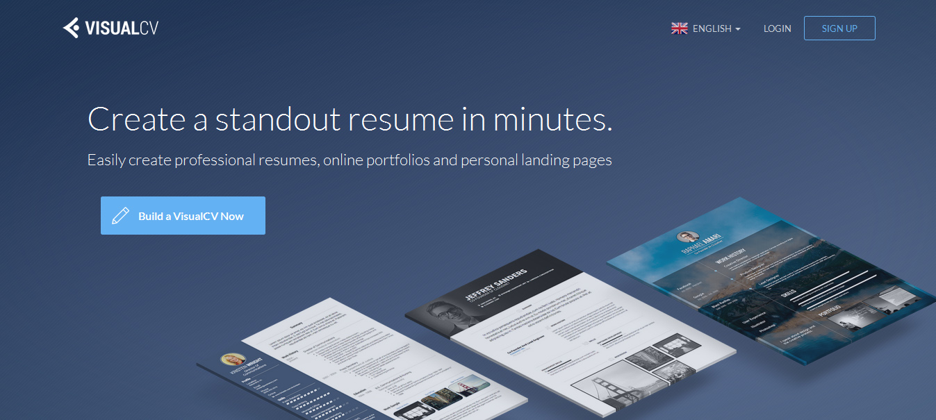 visualcv online resume builder