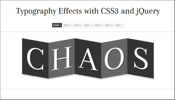 Typography Effect with CSS3 and jQuery